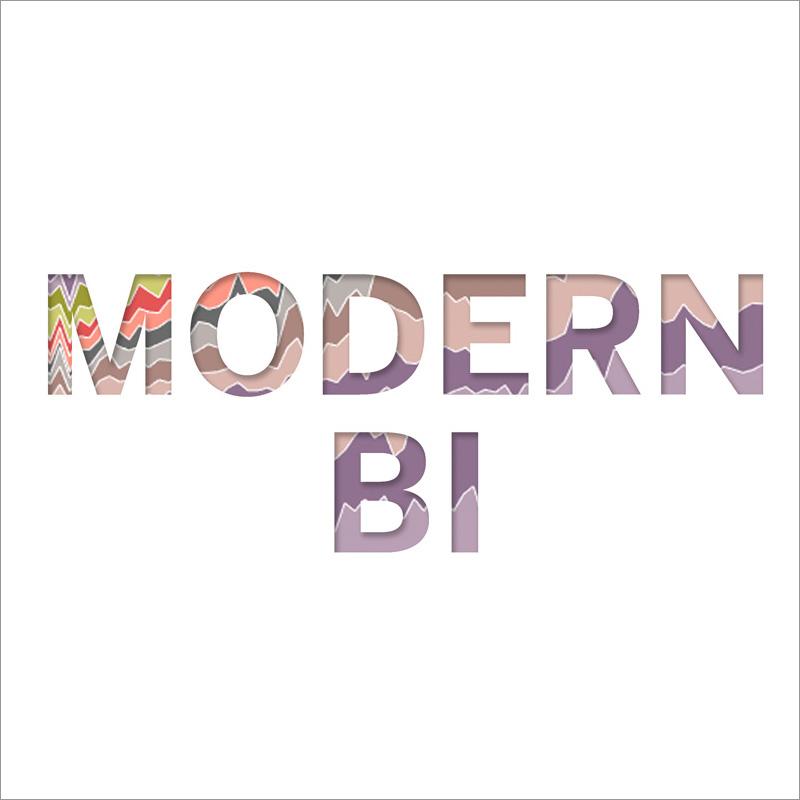 Modern BI text on white background