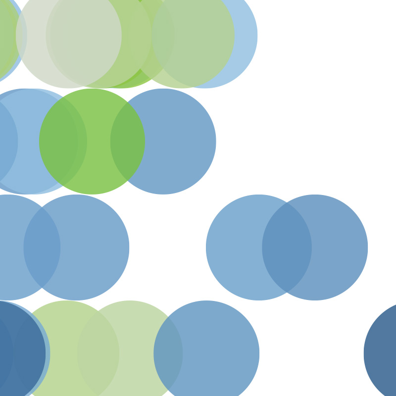 Blue and green circles on white background