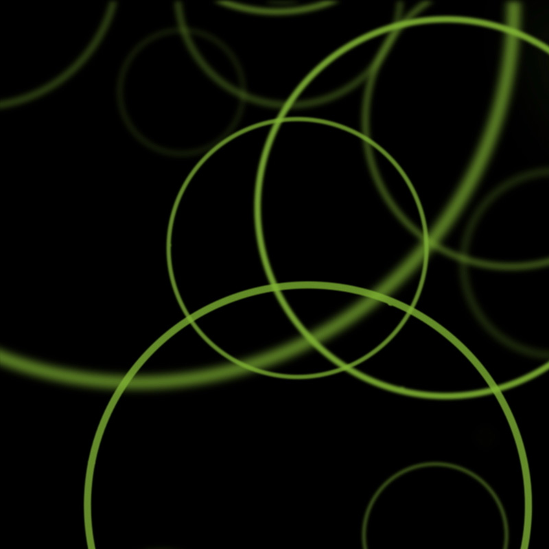 Green circles on black background