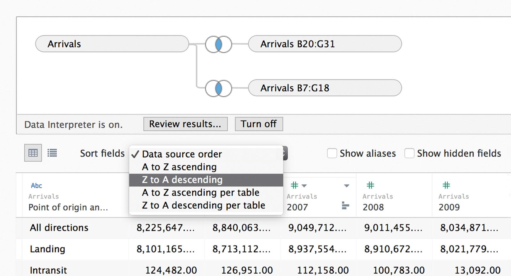 data visualization window