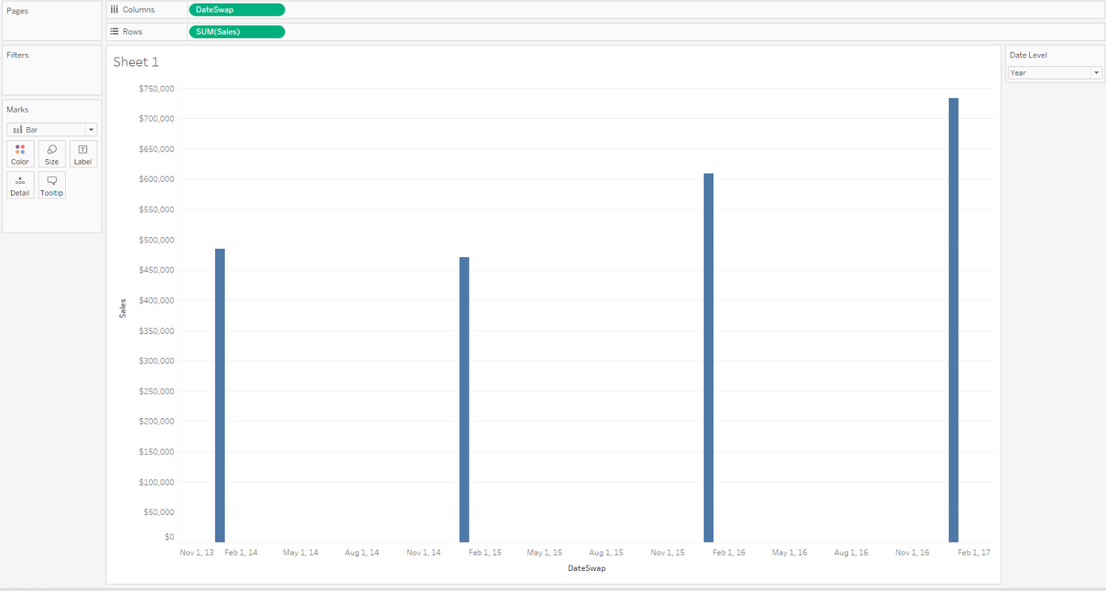 How to make the perfect bar chart widths when changing date since this viz has the parameter currently set to year and the date field is configured to be exact date the result is four bars plotted on a much larger ccuart Images