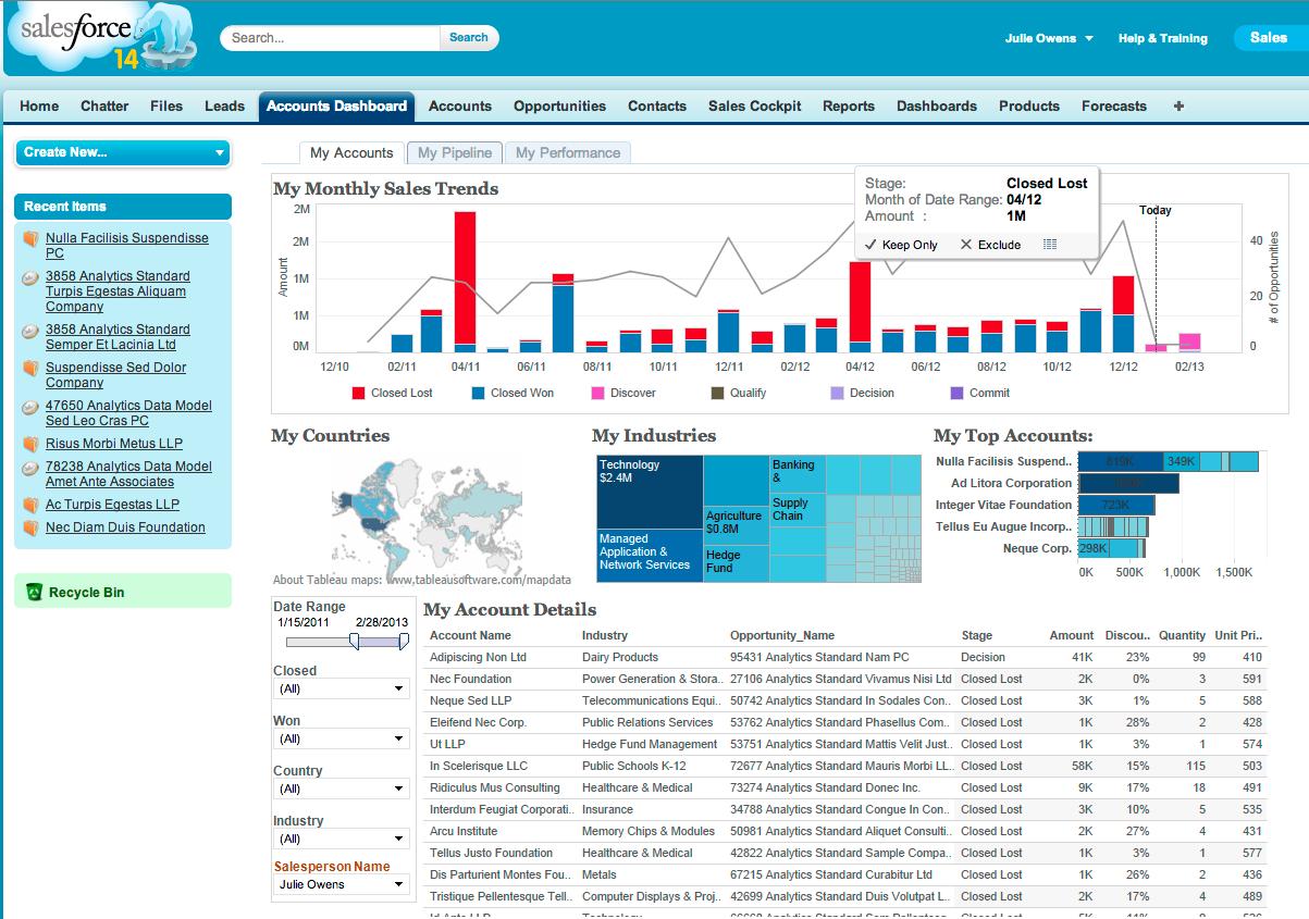 Salesforce Canvas: Embedded Sales Analytics