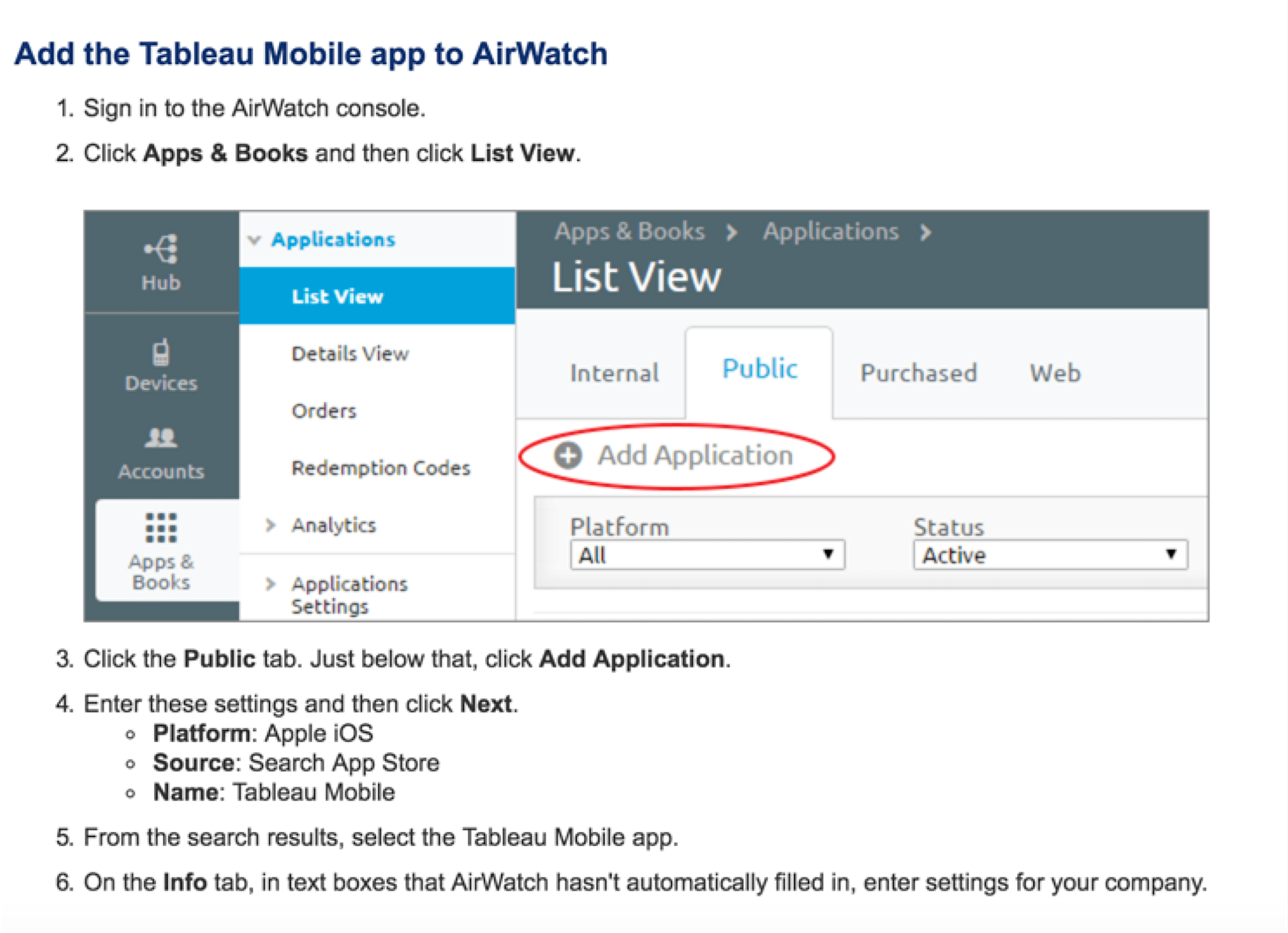 Manage your Tableau Mobile deployment with AirWatch or