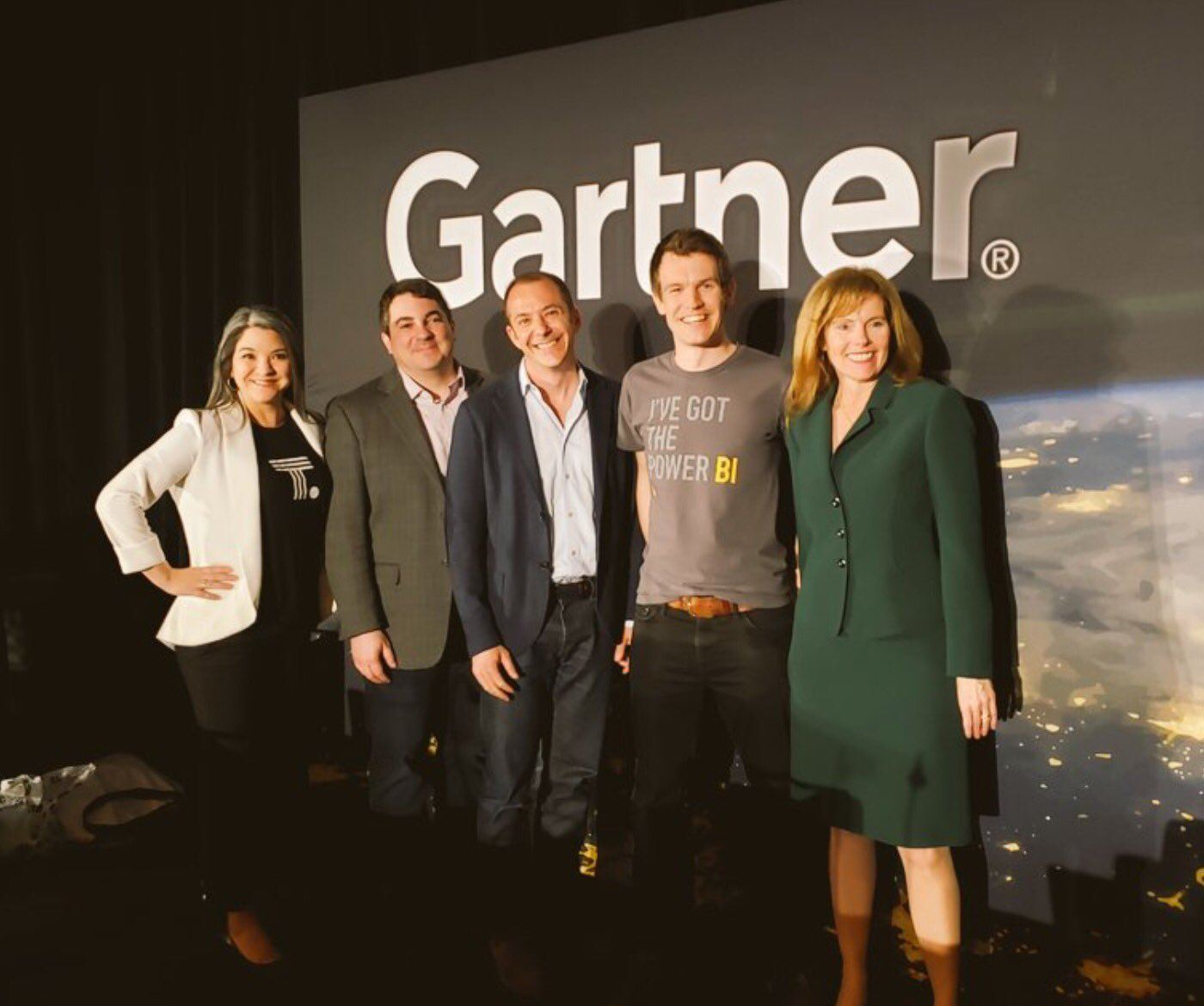 Group shot of the BI Bake Off vendor representatives at the Gartner Data and Analytics Summit, including Francois Ajenstat of Tableau Software.