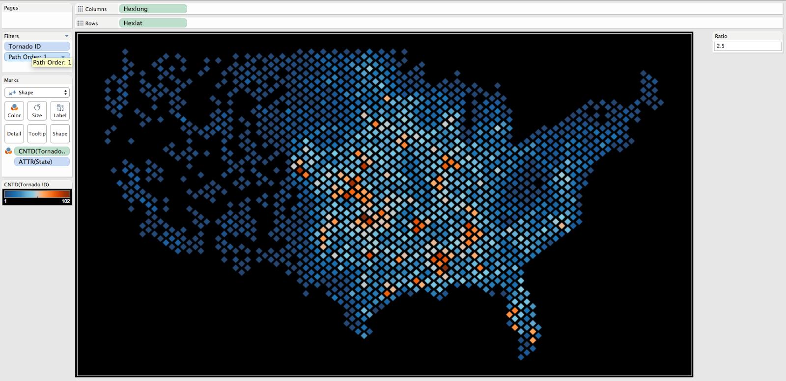 How to create density maps using hexbins in Tableau