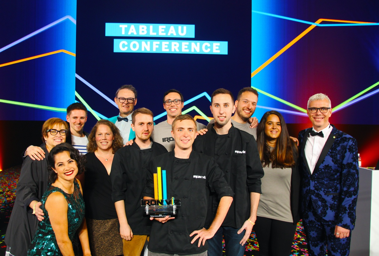 Iron Viz competitors, sous vizzers, judges, and hosts share a photo together at Tableau Conference 2018