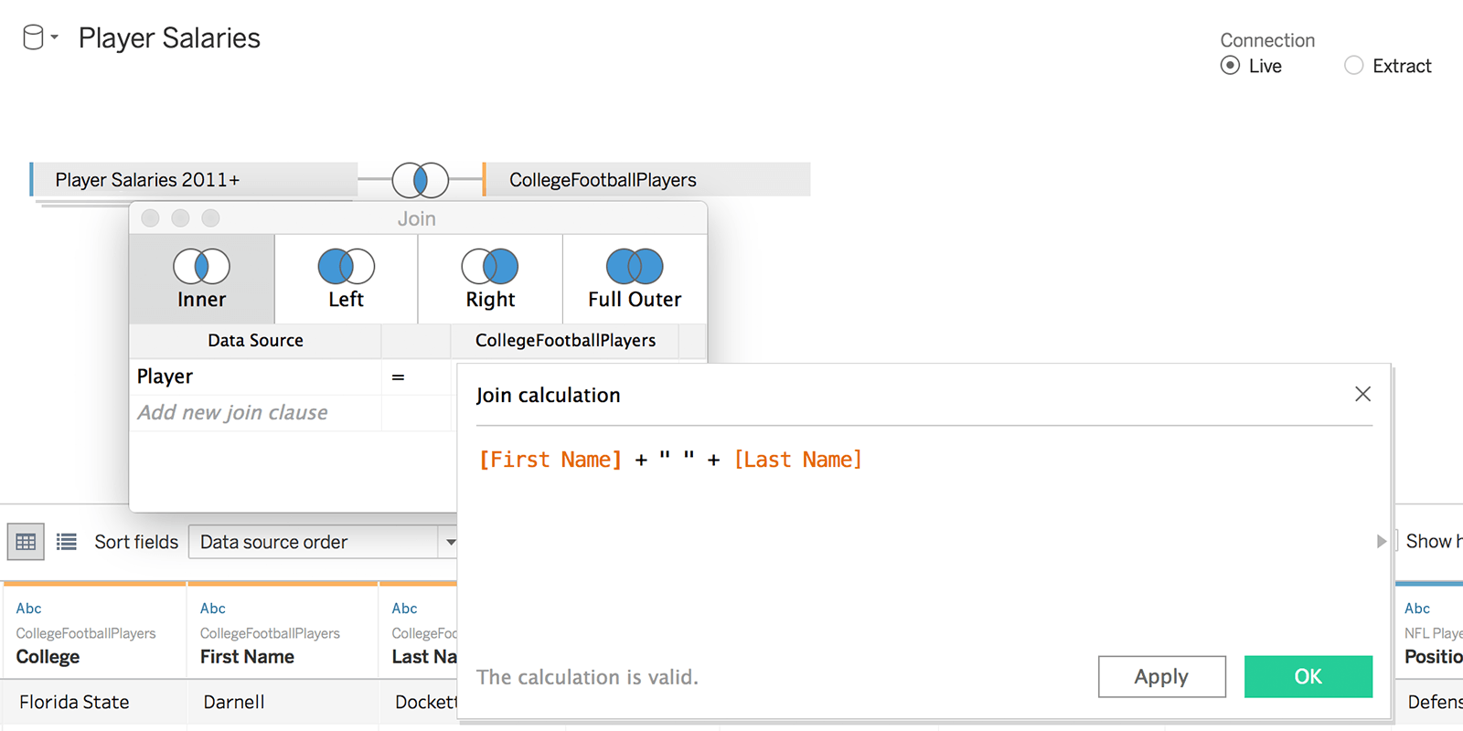 Cálculo de união de colunas