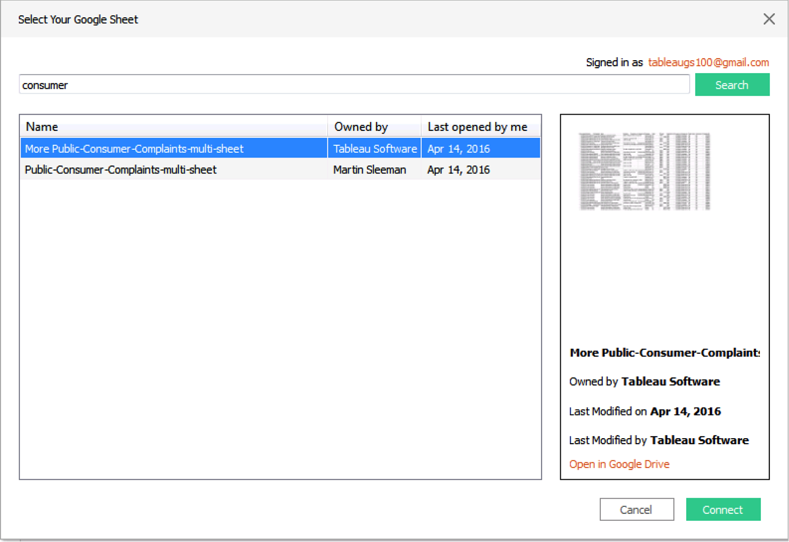 Google Sheets: Deeper spreadsheet data analysis with Tableau