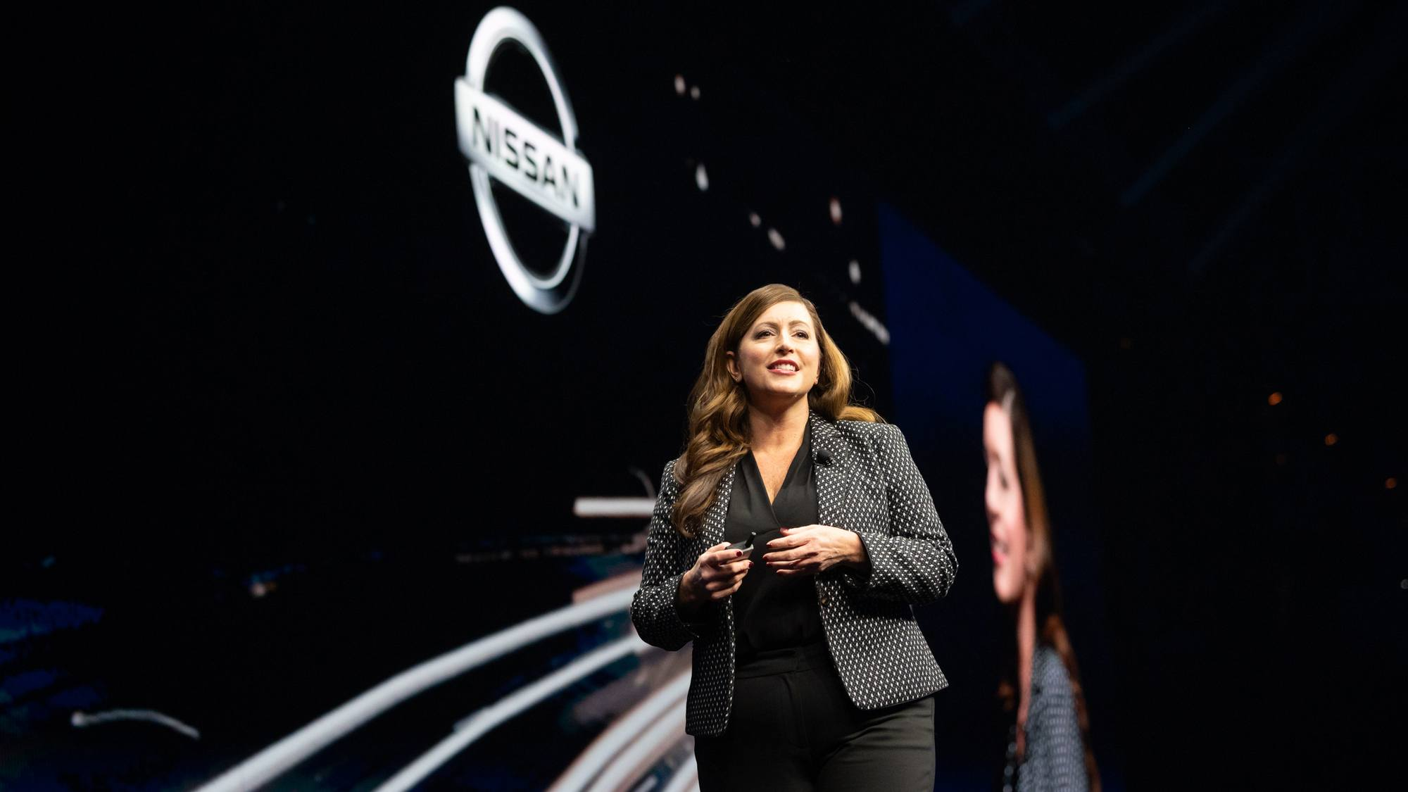 Danielle Beringer from Nissan North America on stage at TC19