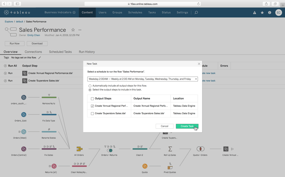 Schedule flows to run automatically with familiar tasks in Tableau Server or Tableau Online
