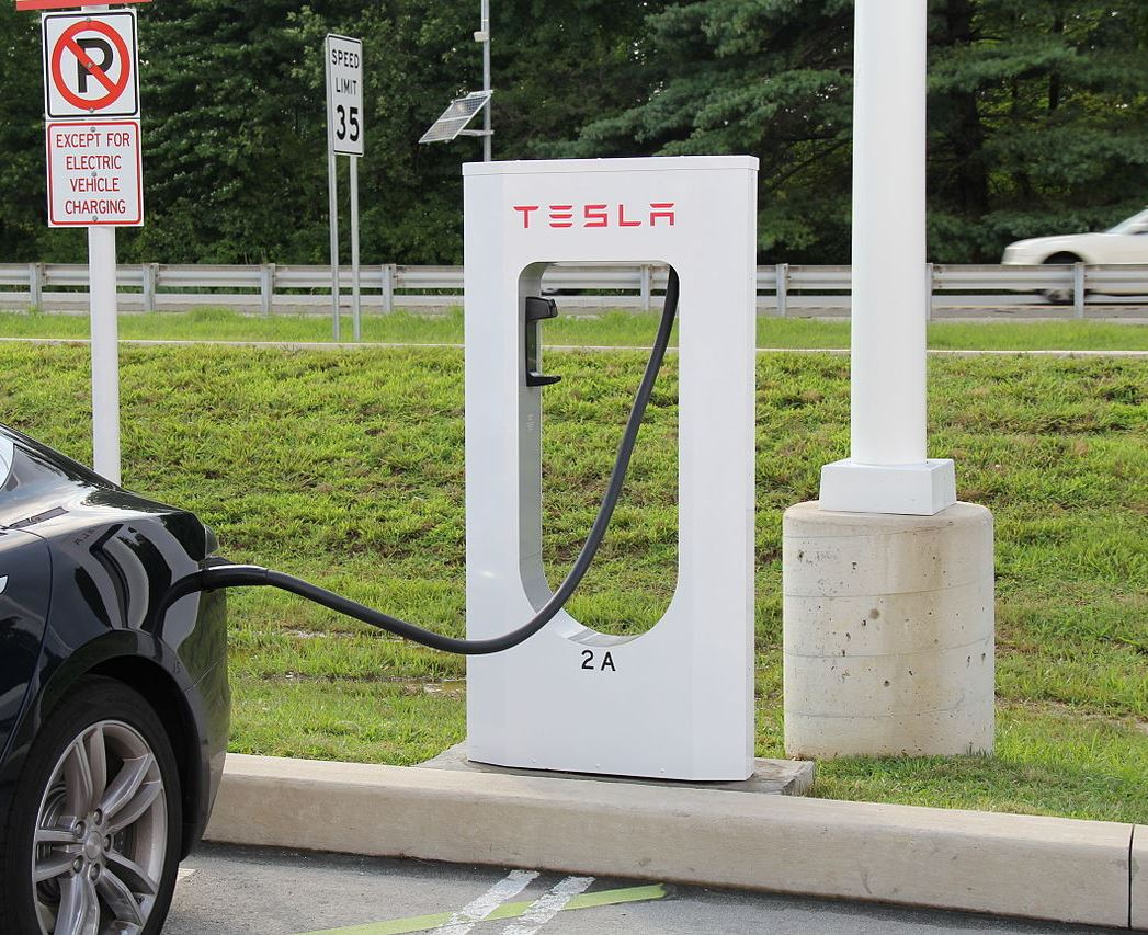 A Tesla Model S being charged