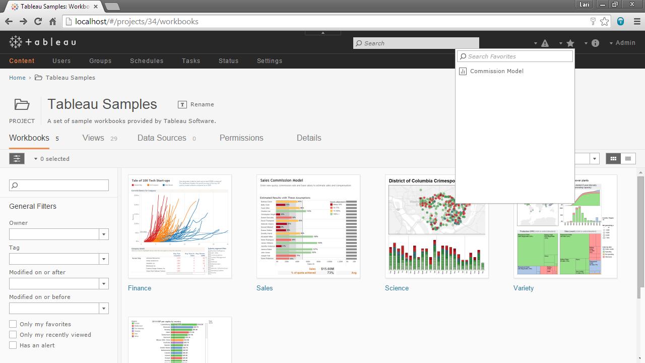 Screenshot van Tableau Online software.