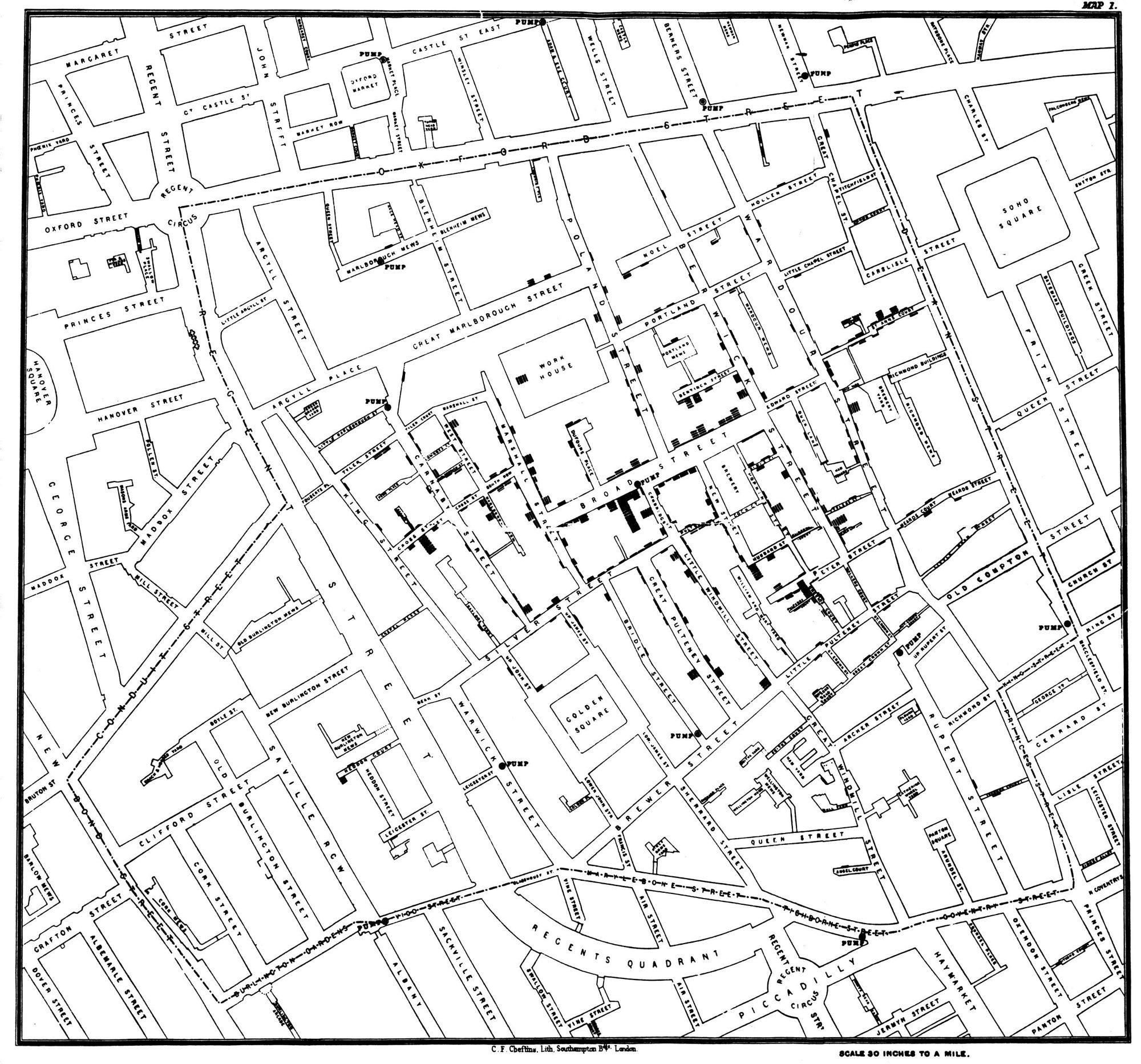data is beautiful  of the best data visualization examples   broad street cholera outbreak map